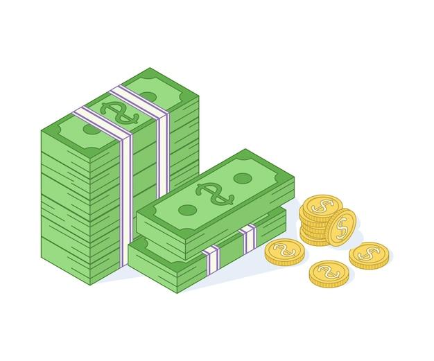 Gouden munten en papier dollars illustratie. bundels verspreid, gestapeld met verschillende kanten geïsoleerd