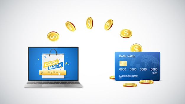 Gouden munten gaan terug naar de creditcard nadat ze online dingen hebben gekocht en met cashback hebben gekocht