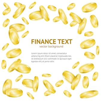Gouden munten geld frame achtergrond met tekst voorbeeldsjabloon