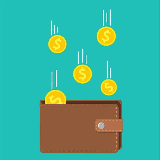 Gouden munten geld vliegen in portemonnee