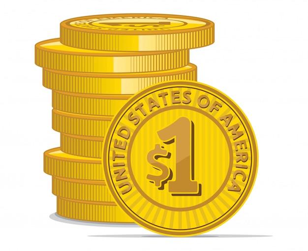 Gouden munten met dollarteken