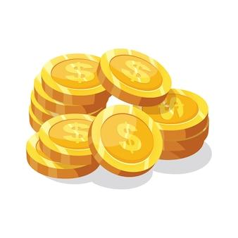 Gouden munten met een dollarteken