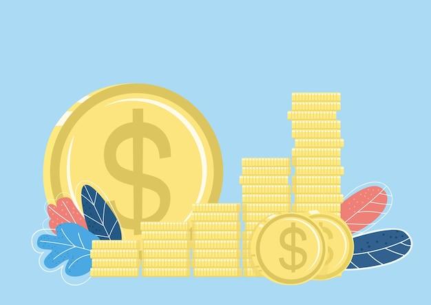 Gouden munten stapel egale kleur object. fondsen en besparingen. financiële markt. besparen. investering. stijgende financiën geïsoleerde cartoon afbeelding voor web grafisch ontwerp en animatie