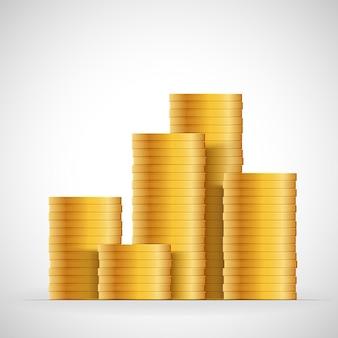 Gouden munten stapel. geld munten pictogram ontwerp bedrijfsconcept. vector contant geld valuta illustratie.