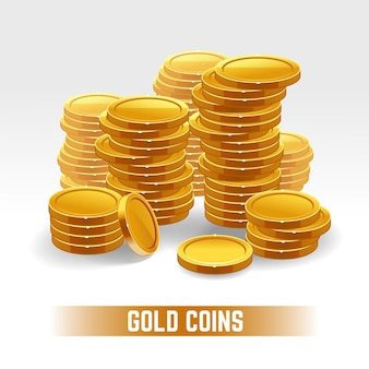 Gouden munten stapel op wit