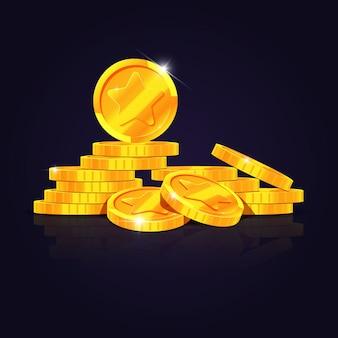 Gouden munten stapel