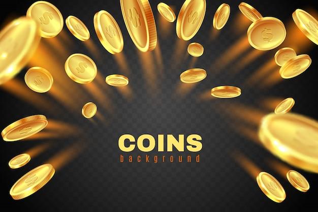 Gouden muntexplosie. gouden dollar munten regen. spel prijzengeld splash. het concept van de casinojackpot op zwarte achtergrond