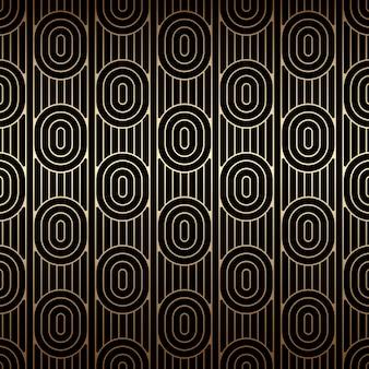 Gouden naadloos patroon met ovalen en lijnen, zwarte en gouden kleuren, art decostijl