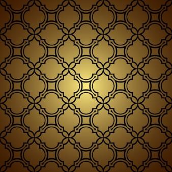 Gouden naadloze patroonachtergrond in oosterse stijl
