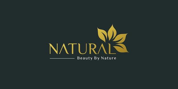 Gouden natuurlijke logo-sjabloon voor bedrijf of afdrukken premium vector