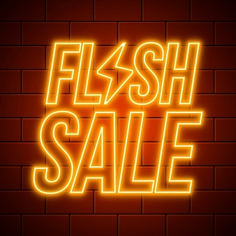 Gouden neon flash verkoop teken