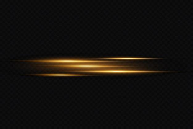 Gouden neon lijn lichteffect vector laser