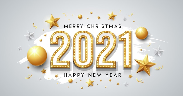 Gouden neonlicht, gelukkig nieuwjaar en vrolijk kerstbericht ontwerp met ster, bal, lint op witte borstel achtergrond