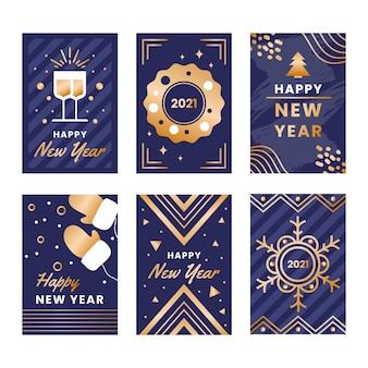 Gouden nieuwe jaar 2021 kaartencollectie