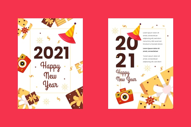 Gouden nieuwjaar 2021 partij flyer-sjabloon