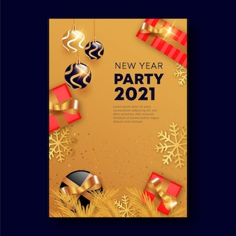 Gouden nieuwjaar 2021 partij poster sjabloon