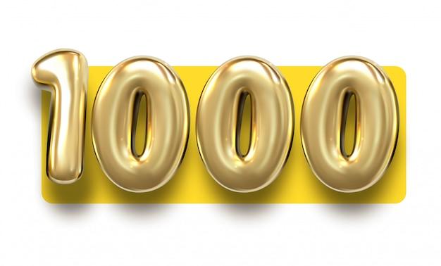 Gouden nummer 1000 duizend metalen ballon. feestdecoratie gouden ballonnen. verjaardag teken voor prettige vakantie, feest,