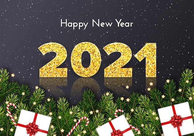 Gouden nummers 2021 op grijze sneeuwachtergrond. gelukkig nieuwjaarskaart