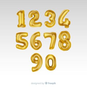 Gouden nummers ballon ingesteld