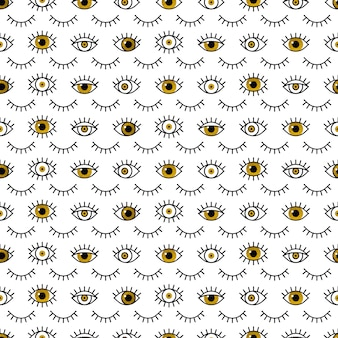 Gouden ogenpatroon in lijnstijl.