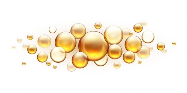 Gouden oliebellen. cosmetisch collageen serum, castor argan jojoba essentie realistische sjabloon geïsoleerd op wit. vitaminen amandel met visolie druppels voor huid en haar