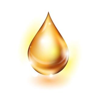 Gouden oliedruppel geïsoleerd op een witte achtergrond. vectorillustratie