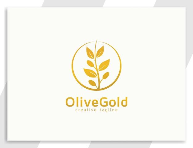 Gouden olijfboom luxe logo illustratie