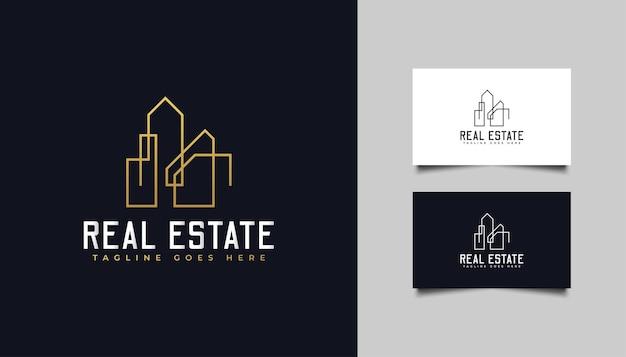 Gouden onroerend goed-logo in lijnstijl. ontwerpsjabloon voor bouw, architectuur of gebouw logo