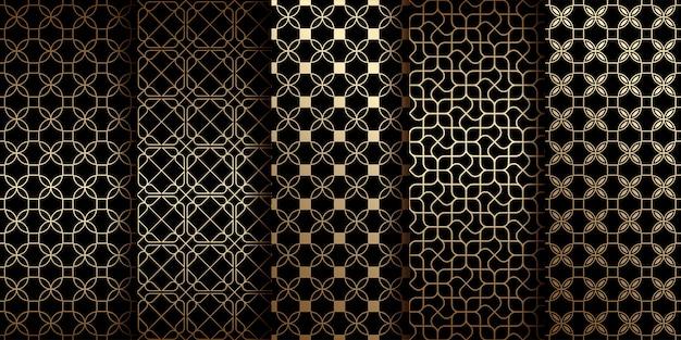 Gouden oosterse naadloze patronen met gestileerde bloemen collectie