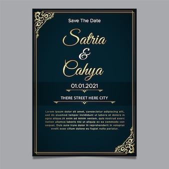 Gouden ornament thema bruiloft uitnodiging sjabloon