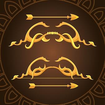 Gouden ornamentbogen met pijlen op bruin achtergrondontwerp van wapenboogschieten cupido en vintage thema