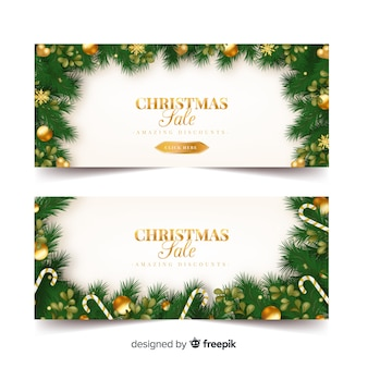 Gouden ornamenten kerst verkoop banner