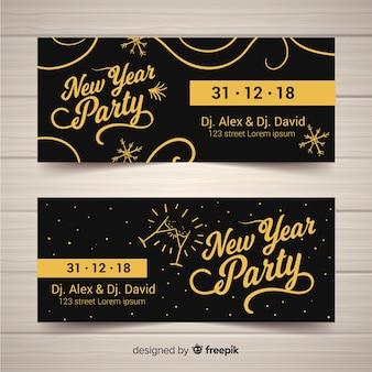 Gouden ornamenten nieuwe jaar feestbanner