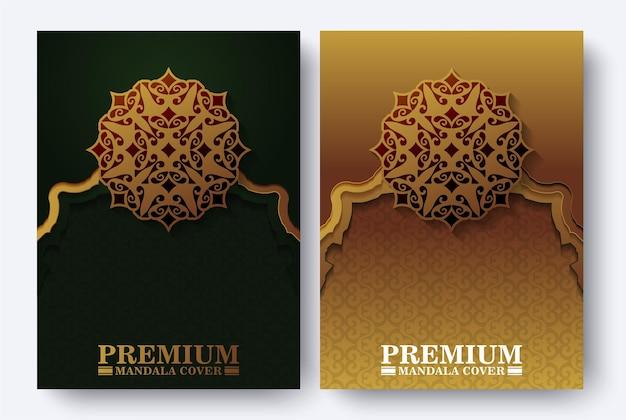 Gouden ornamentpatroon voorbladsjabloon