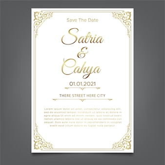 Gouden ornamentthema en witte achtergrondhuwelijksuitnodigingmalplaatje