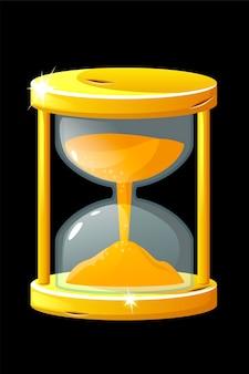 Gouden oude zandloper voor het meten van de tijd voor spel. vector illustratie vintage glanzende klok voor grafisch ontwerp.