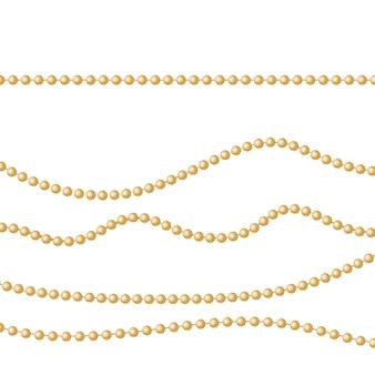 Gouden parels op een witte achtergrond