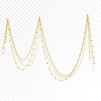 Gouden parels op een witte achtergrond.
