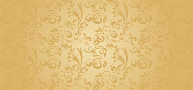 Gouden patroonbanner in een gotische stijl