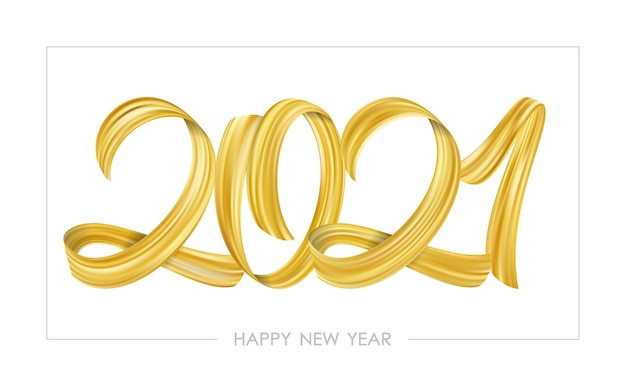 Gouden penseelstreek verf belettering kalligrafie van 2021