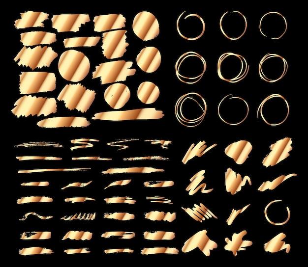 Gouden penseelstreekelementen voor ontwerpen set