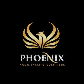 Gouden phoenix logo ontwerp