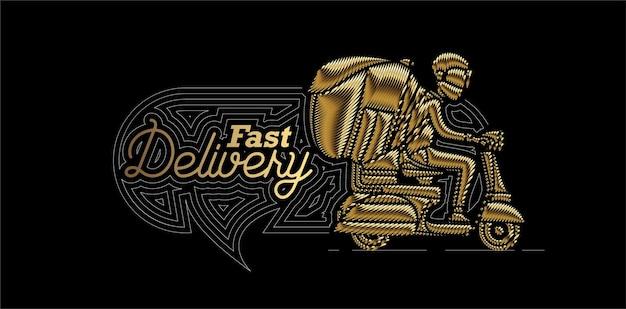 Gouden pictogram levering jongen rit scooter bezorgservice, bestelling, snelle verzending, vector achtergrond.