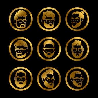 Gouden pictogrammen mannelijke hoofden