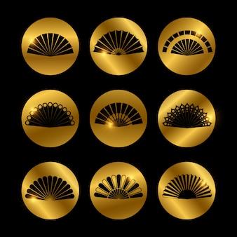 Gouden pictogrammen met fans zwart silhouet