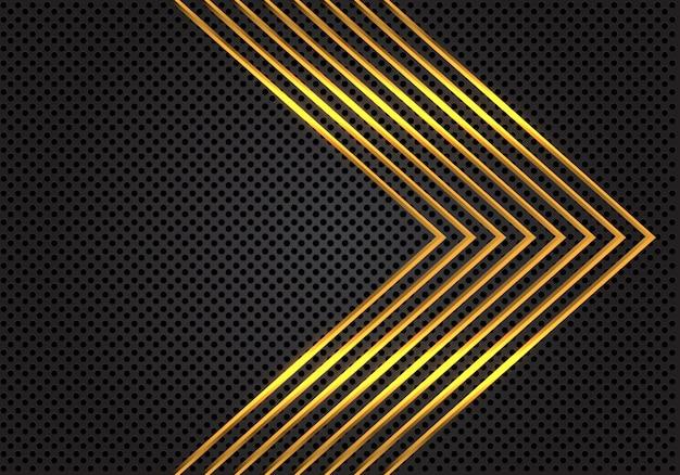 Gouden pijl patroon lijnen op donker grijze cirkel mesh achtergrond.