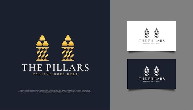 Gouden pijlers-logo of -symbool, geschikt voor logo's van advocatenkantoren, investeringen of onroerend goed