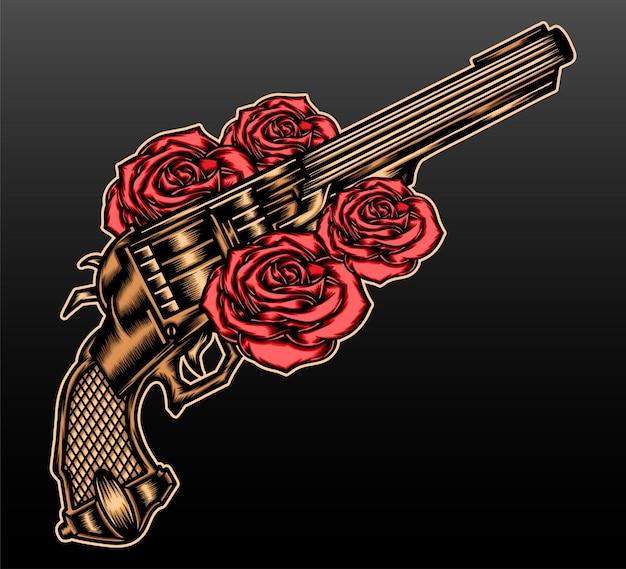 Gouden pistool met roos geïsoleerd op zwart