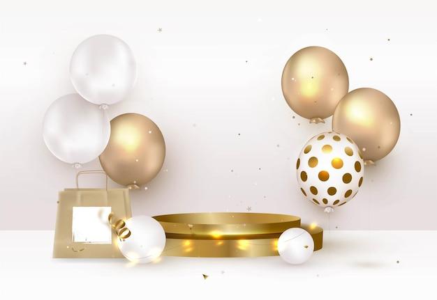 Gouden podium met cadeaupakket en ballonnen