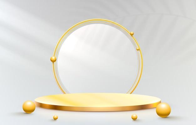 Gouden podiumpodium en gouden frame op grijze achtergrond